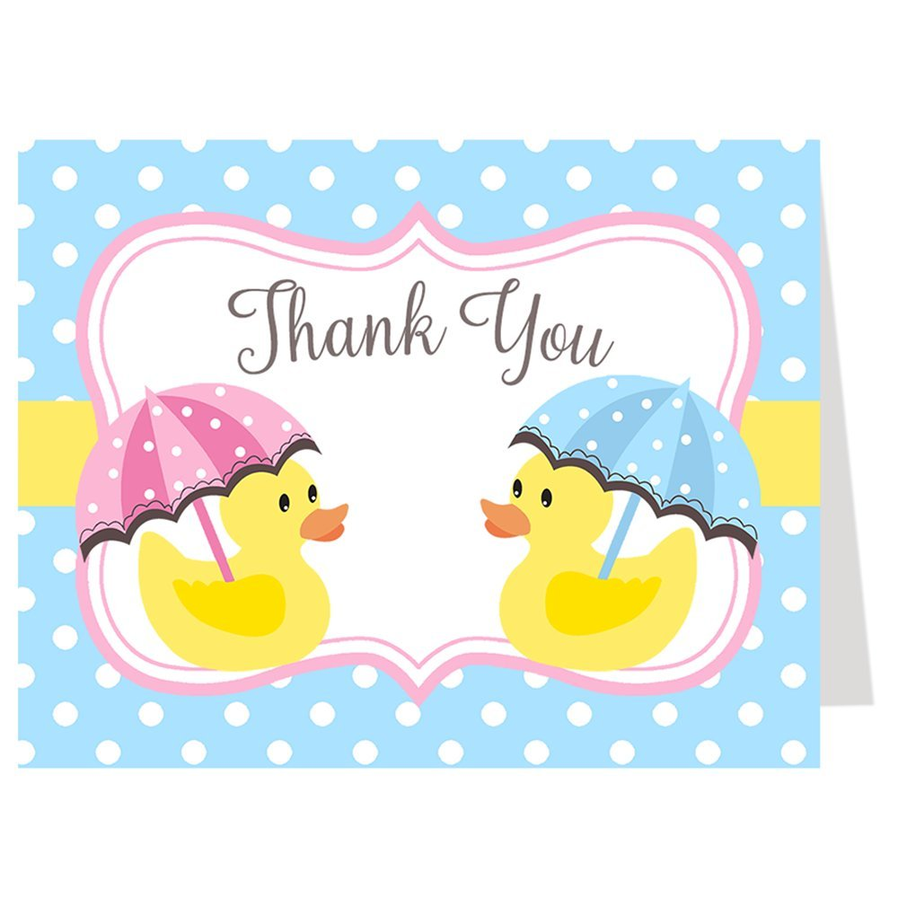 Twin Duck Thank You Cards Baby Shower Sprinkle Birthday Party Twins Little Duck Rubber Ducky Blue Pink Polka Dots Yellow Fraternal Thanks Folding Notes (50 count)