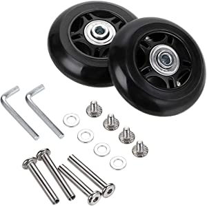OwnMy Luggage Suitcase Replacement Wheels, Rubber Swivel Caster Wheels Bearings Repair Kits, A Set of 2