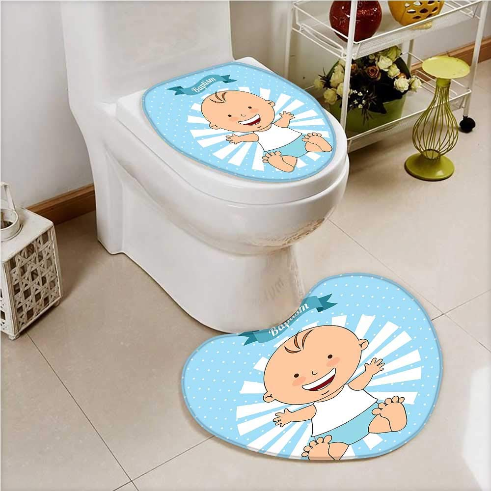 Heart shaped foot pad 2 Pieces Set Baptism Design Boy Christening Striped Dotted Background Christian in Bathroom toilet Mats