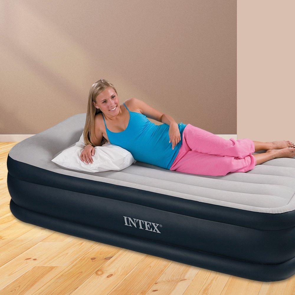 Intex Luftbett Deluxe Pillow grey-blue Twin (230 V), grau, 99 x191 x 43 cm 67732