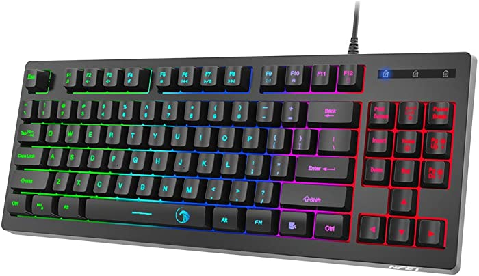 NPET G11 Gaming Keyboard 87 Keys Small Compact Rainbow Backlit Keyboard, USB Wired Anti-Ghosting and Water Resistant Membrane Keyboard for PC/Laptop/Desktop/Computer