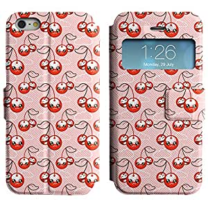 AADes Scratchproof PU Leather Flip Stand Case Apple iPhone 5 / 5S ( Cute Cherries )
