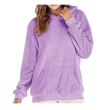 Womens Velvet Tops,Kulywon Clearance Sale!Women Hooded Sweatshirt Coat Winter Warm Wool Zipper