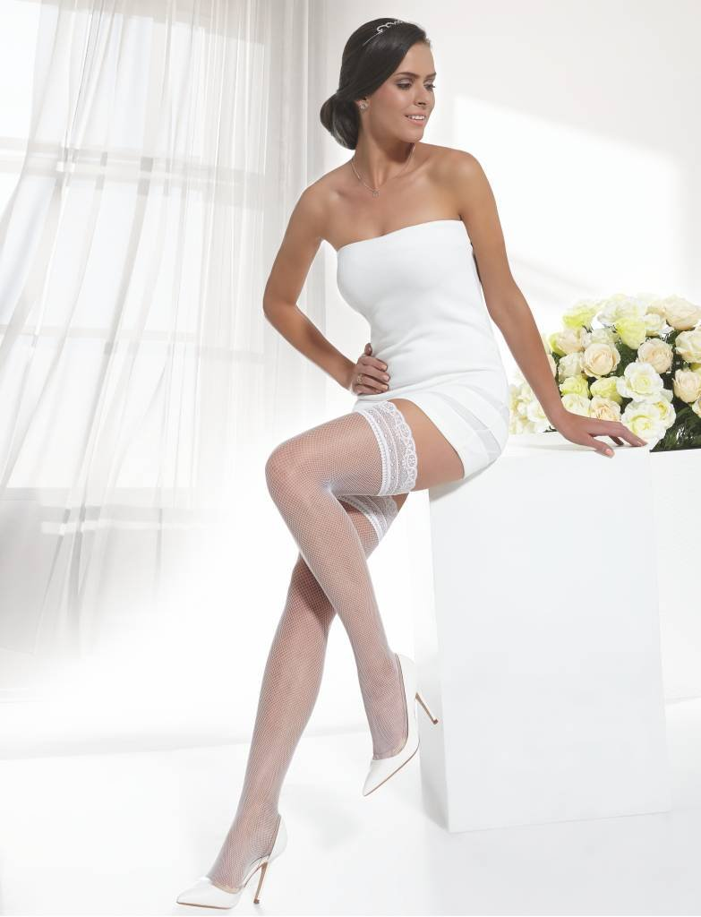 Conte Women's Thigh High Fishnet Bridal Stockings - Ivory, Extra-Small - Small by Conte elegant (Image #2)
