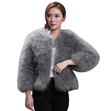 5e1e67a46f7 HOMEBABY Women Ostrich Feather Soft Fur Coat, Ladies Winter Parka Warm Faux Fur  Jacket Girls