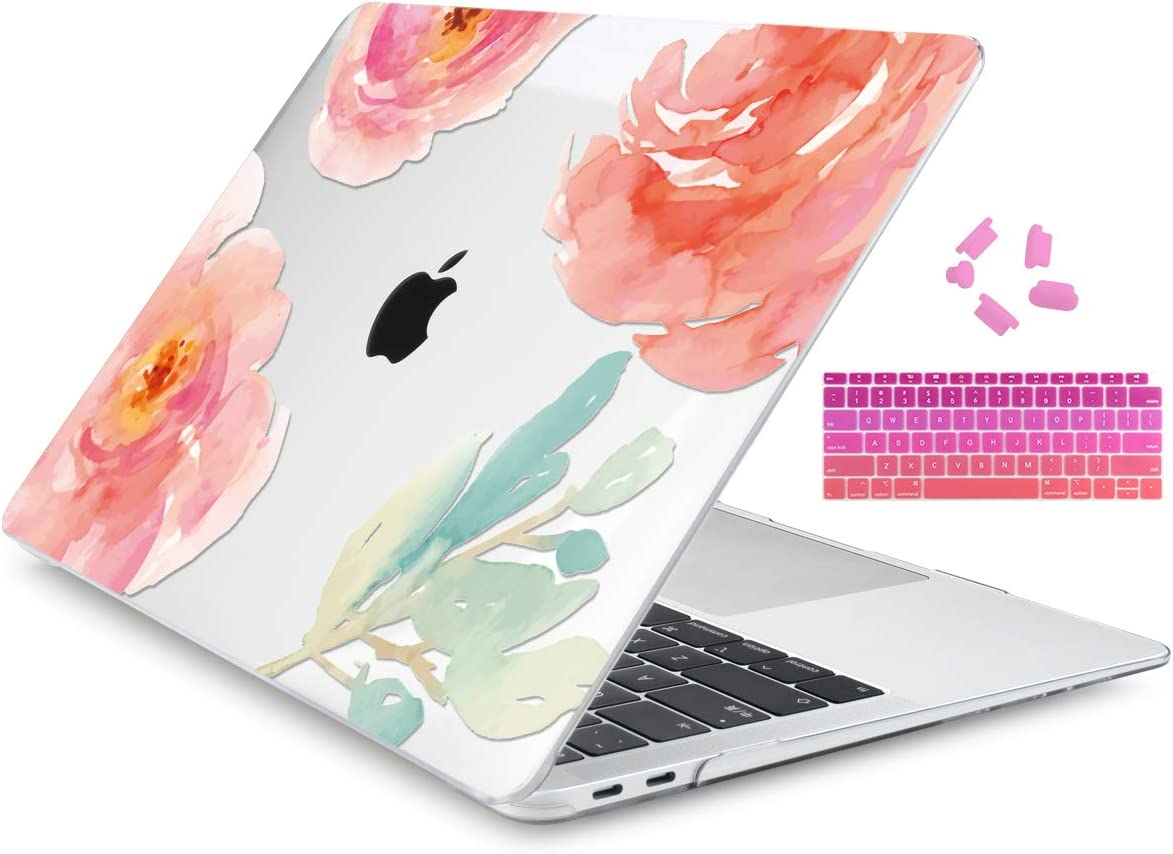 Dongke MacBook Air 13 Inch Case A1932 2019 2018 Compatible Touch ID Retina Display 3 in 1 Bundle, Hard Shell & Keyboard Cover Set (Art Flower)