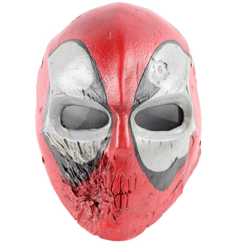 QQWE Skull King Deadpool Casco Maschera Marvel Hero Head Maschera Cosplay Movie Game Puntelli Costume Maschera in Resina,Red-OneDimensione