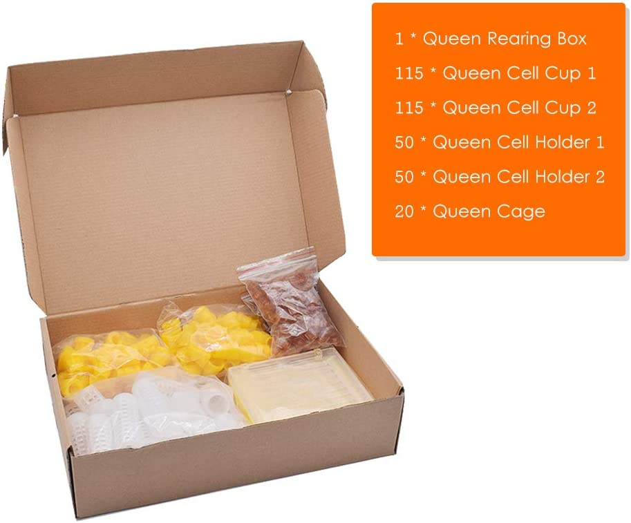 131pcs Bee Queen Rearing Cupkit Box System Beekeeping Cage Z4R0 Kit Cell B3C2