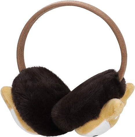 Qchomee Kids Cute Fox EarMuffs Boys Girls Cartoon Ear Warmer Plush Furry Ear Hamburg Windproof Headband Fashion Adjustable Christmas Birthday Gifts for Child
