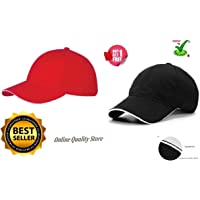 Online Quality Store Cap for Men's and Women's, (Red and Black) - Pack of 2
