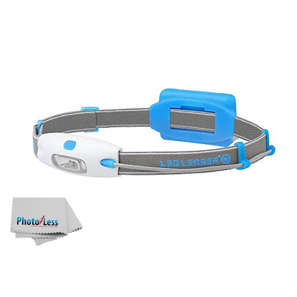 Led Lenser Mens Womens Running Sport Neo Battery Powered Headlight Lamp, 90 Lumens Light 16x9 Wide Beam, Perfect for Running, Walking, Camping, Reading, Hiking, with a Photo4Less Clean Cloth (Blue)