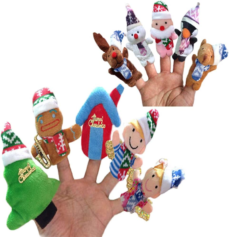 Sikye 10pcs Christmas Santa Claus and Friends Finger Puppets Educational Toy Baby Story Time Finger Toy