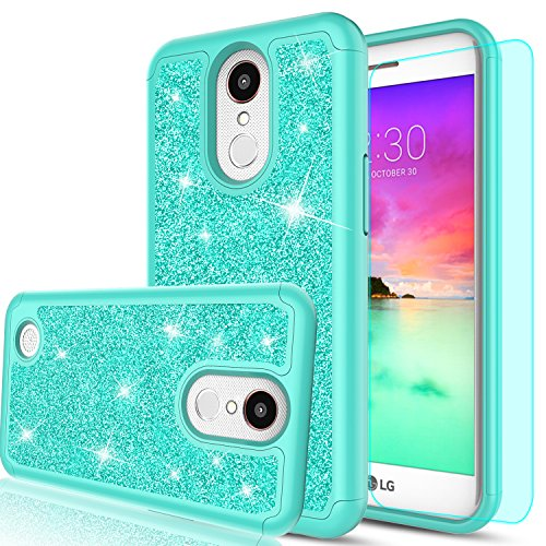 LG K20 V Case,LG K20 Plus Case,LG K10 2017 / LG Harmony / LG Grace Case with HD Screen Protector,LeYi Luxury Glitter Bling Cute Girls Women Hybrid Heavy Duty Protection Case for LG K20 V TP Mint