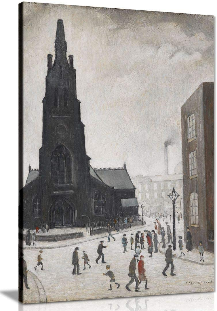 Lowry Market Scene in a Northern Town Stretched Canvas Wall Art Poster Print LS