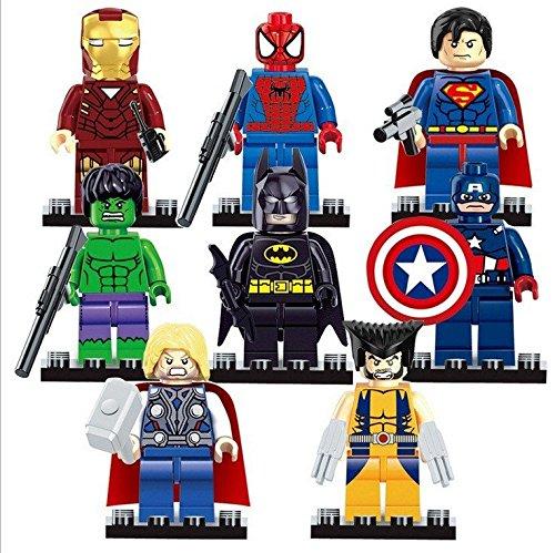 8 Pcs/Set SuperHeroes ActionFigures [TheFigure MiniBlocks With Weapon]Minifigures Educational Toys DIY Building Blocks Brinks
