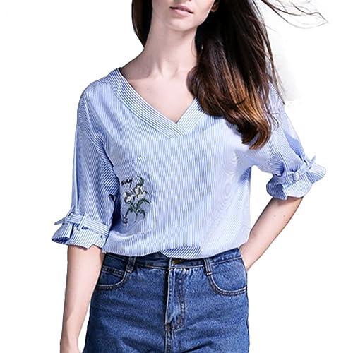 Mujer Blusas Kukul Blusa de rayas Blusa de cuello en V con bordado sin espalda Camisa de manga media