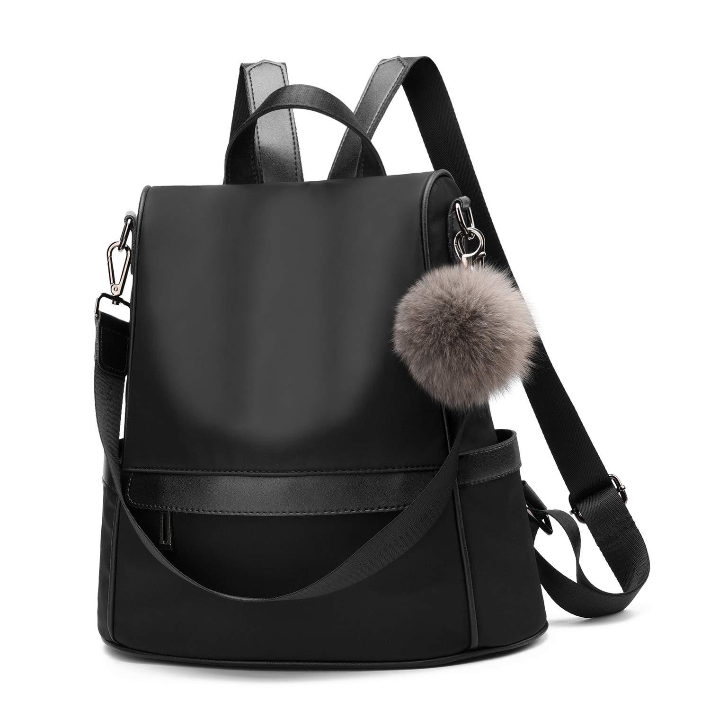 Women Backpack Purse Nylon Anti-theft Fashion Casual Lightweight Travel School Shoulder Bag(Black) by Cheruty