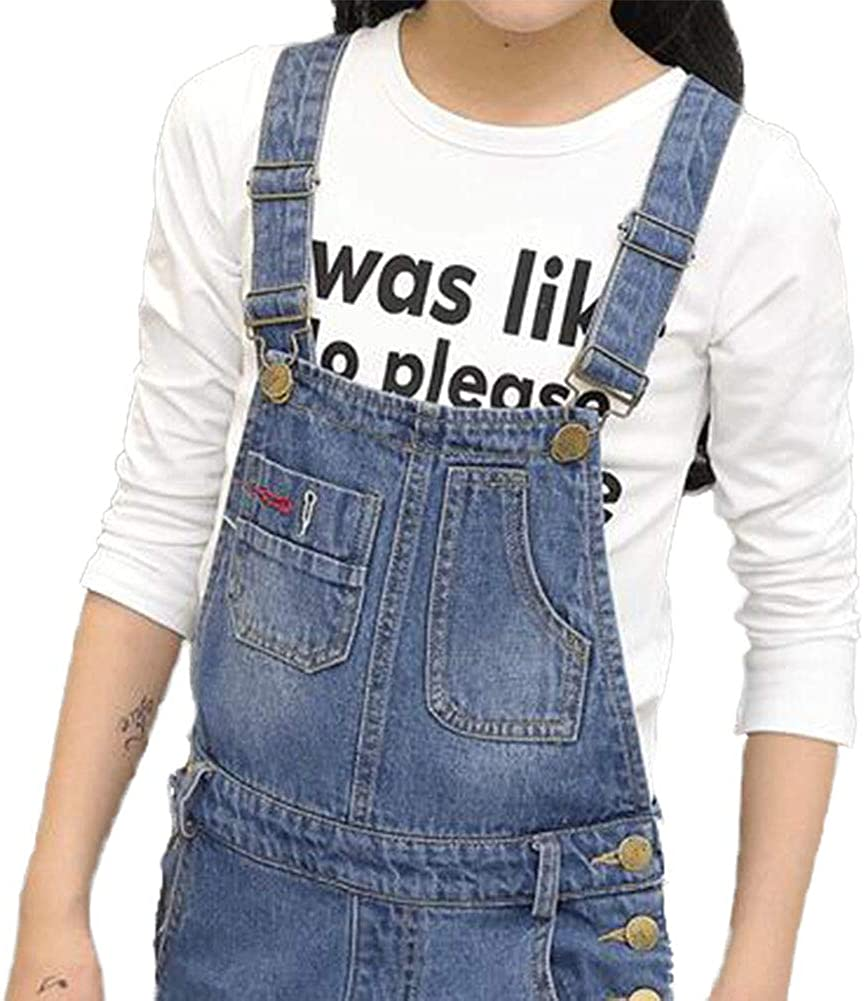 Digirlsor Kids Girls Adjustable Strap Dark Blue Long Jeans Jumpsuit Suspender Denim Bib Overalls,3-12Y