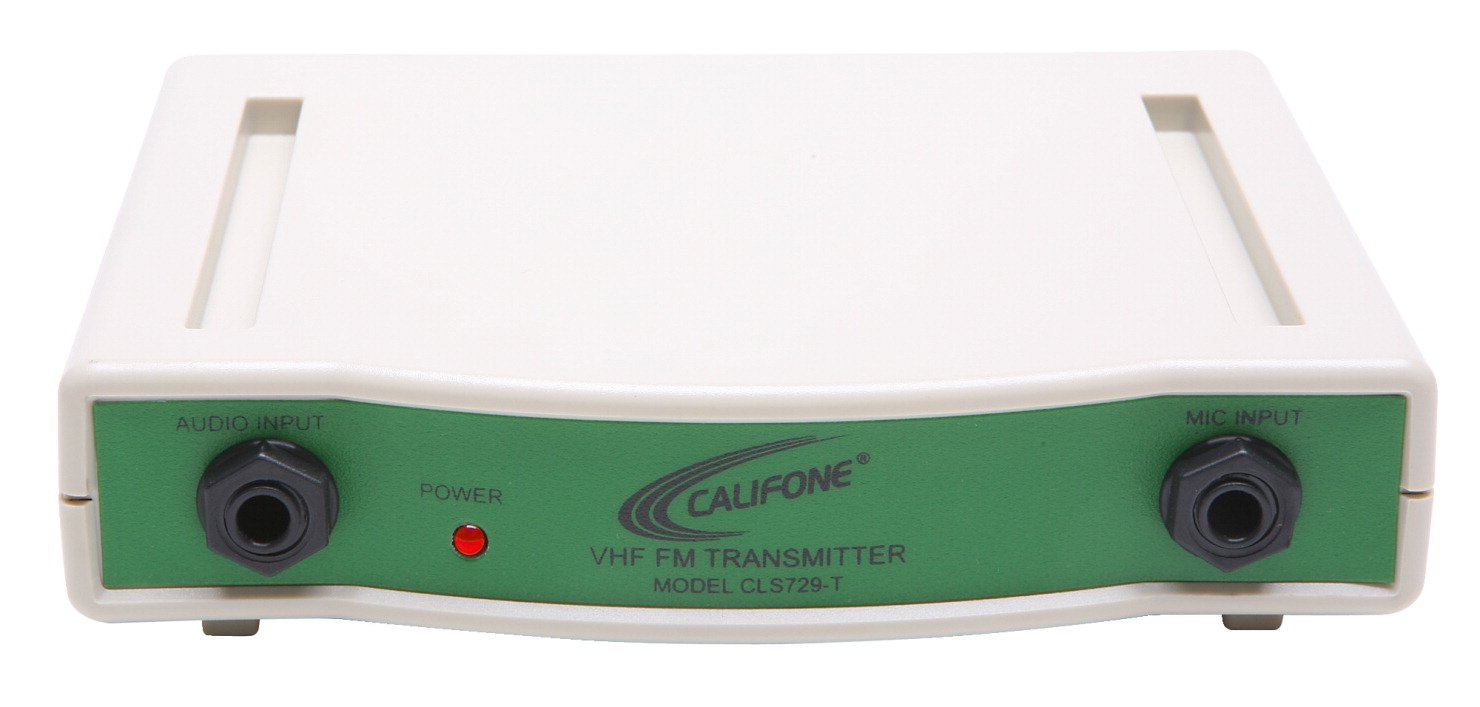 Califone CLS729T Wireless Headphone 72.900 mHz Transmitter, Green, 1/4'' audio input from any media source including computers, Unlimited number of listeners for each frequency by Califone