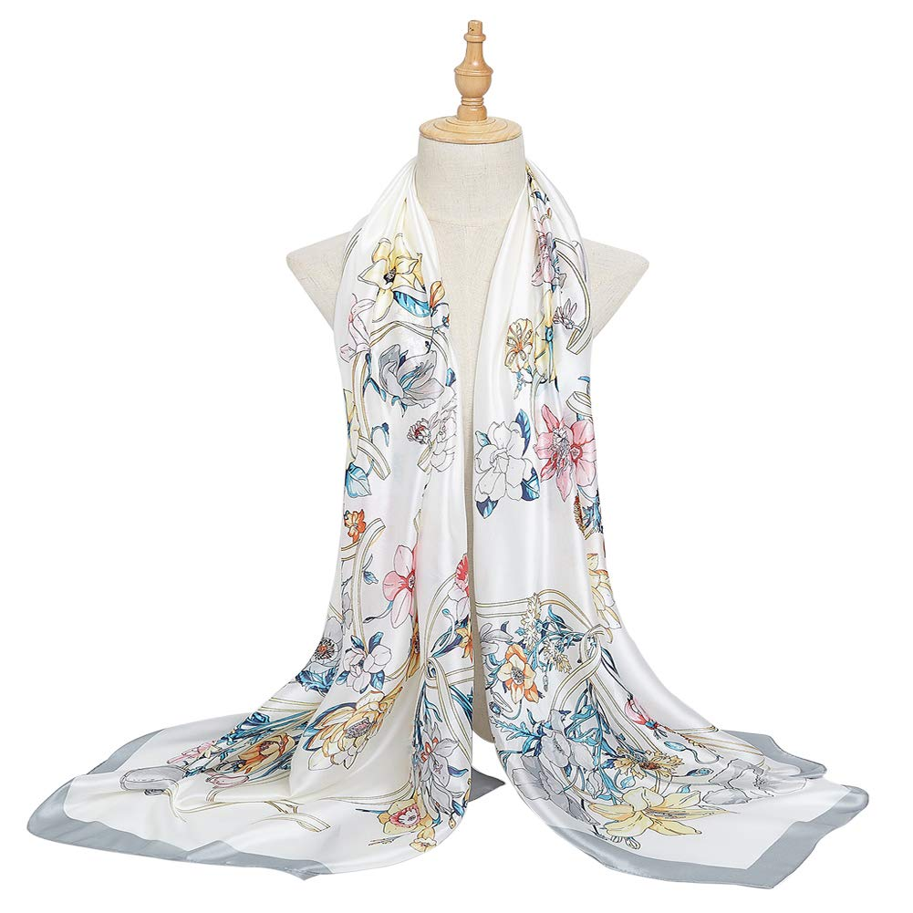 Bellonesc Women Scarves Fashion Lightweight Sunscreen 100% Silk Scarfs for Women