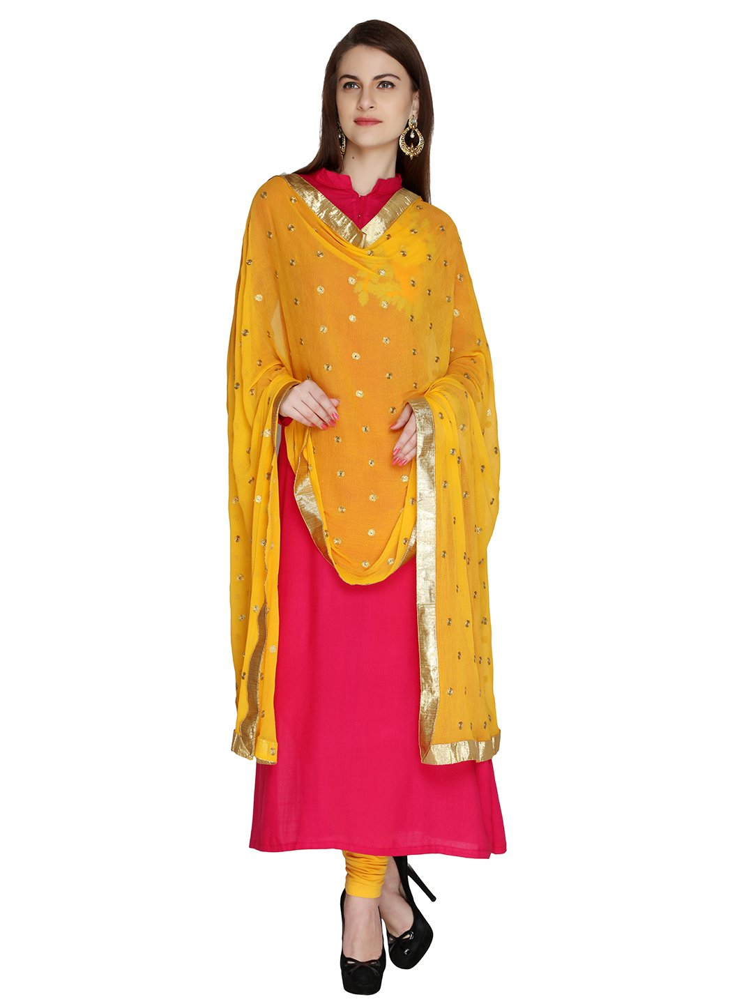 Dupatta Bazaar Woman's Embroidered Pink Chiffon Dupatta Scarf Shawl Wrap Soft (Yellow Gold)