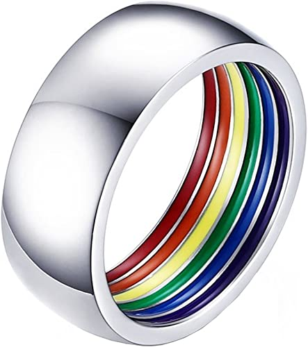 Striped Rainbow Color Gay Lesbian Men Pride Ring Stainless Steel Band Jewelry