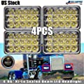 4Pcs 4X6 Inch LED Rectangular Sealed Beam Headlights High Low Beam H4652 for Freightliner Fld120 Peterbilt 379 Kenworth T600 W900 Chevy C10 K10 S10 H4651 H4656, Replace H4651 H4652 H4656 H4666 H6545,