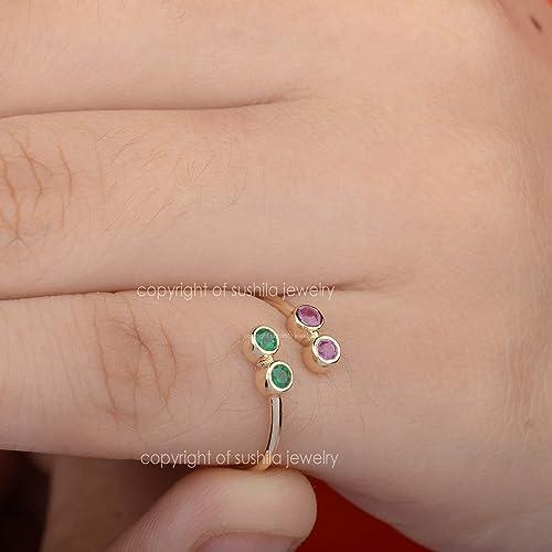 Genuine Ruby Gemstone With Diamond Wedding Engagement Band Ring in Solid 14k Yellow Gold Handmade Minimalist Jewelry