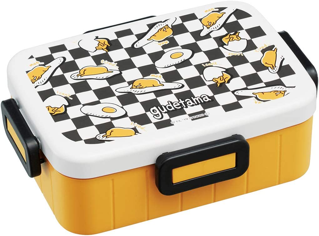 Sanrio Gudetama Egg Bento Box Container (650ml) - Cute Lunch Carrier with Secure 4-Point Locking Lid - Authentic Japanese Design - Durable, Microwave and Dishwasher Safe