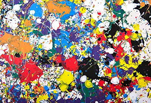 7x5ft Colorful Graffiti Rainbow Abstract Paint Splashes Pictorial Cloth Customized Photography Backdrop Digital Printing Background Photo Studio Prop ()