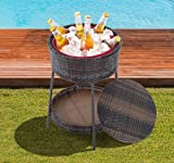 25'' Large Rattan Wicker Ice Bucket Patio Cooler Beverage Drink Party Pool Yard