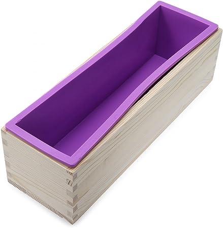 sunreek Flexible Rectangular jabón molde de silicona con caja de madera para casera 900 G/32oz hacer jabón proceso de frío de remolino de suministros, casera DIY Jabón: Amazon.es: Hogar