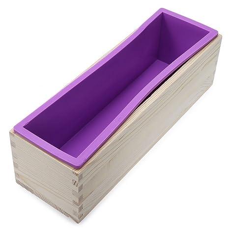 sunreek Flexible Rectangular jabón molde de silicona con caja de madera para casera 900 G/
