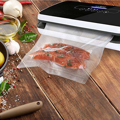 NutriChef Vacuum Sealer | Automatic Vacuum Air Sealing System For Food Preservation w/ Starter Kit | Compact Design | Lab Tested | Dry & Moist Food Modes | Led Indicator Lights (Black)