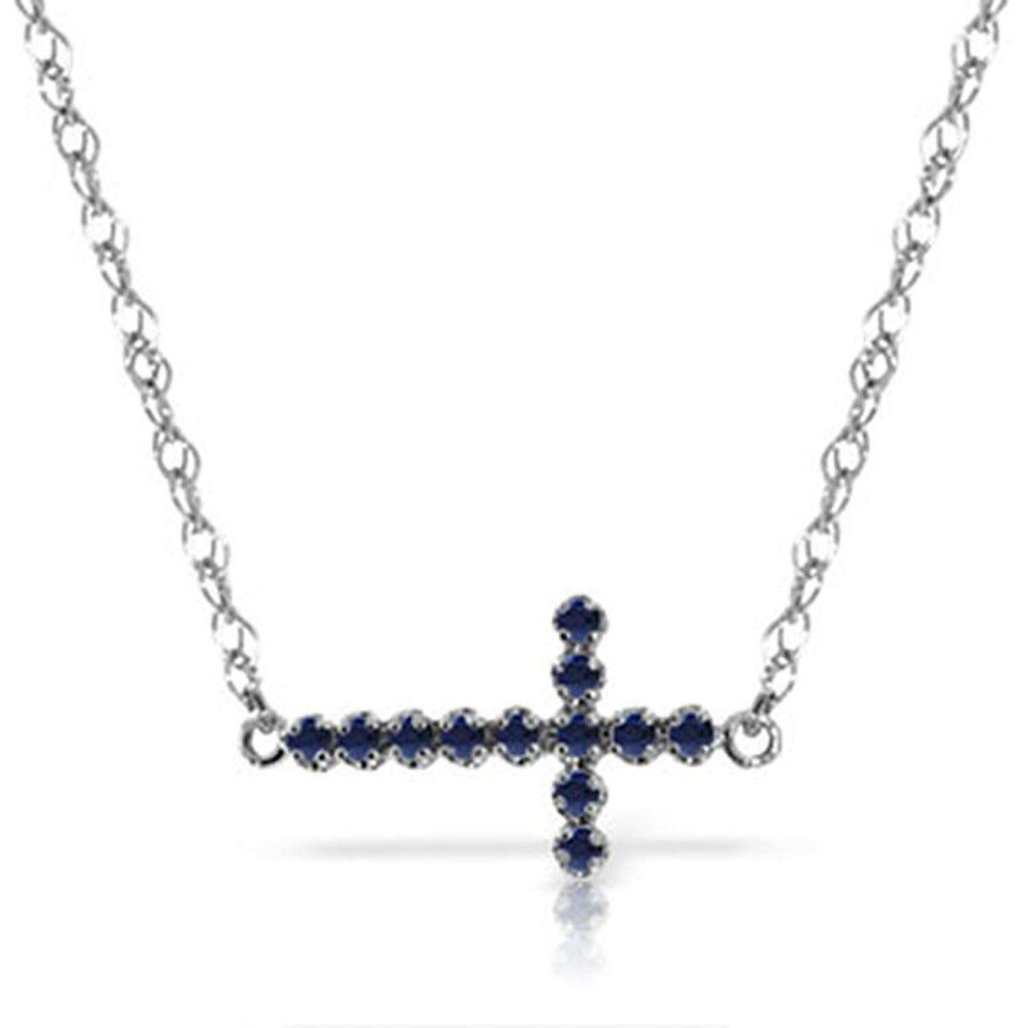 ALARRI 0.3 CTW 14K Solid White Gold Love Doesn't Take Offense Sapphire Necklace with 20 Inch Chain Length