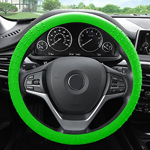 FH Group FH3002GREEN Green Steering Wheel Cover (Silicone W. Nibs & Pattern Massaging grip Wheel Cover Color-Fit Most Car Truck Suv or Van) ()