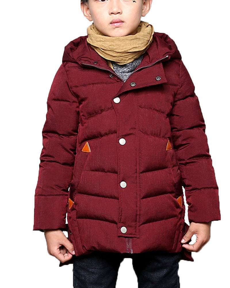 DianShaoA Cappotto con Cappuccio Imbottito in Cotone Trapuntato Giacca Calda Giacca Tinta Unita - Bambini E Ragazzi