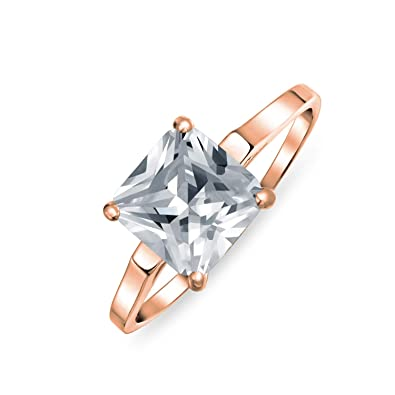 e3af5ef661adc Simple 2.5CT Brilliant Princess Cut AAA CZ Solitaire Engagement Ring Thin  Band 14K Rose Gold Plated 925 Sterling Silver