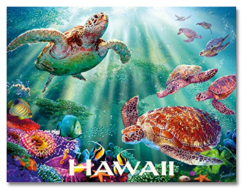 Glitter Embellished Hawaiian Art Collectible Magnet  Turtle Voyage by Steve Sundram