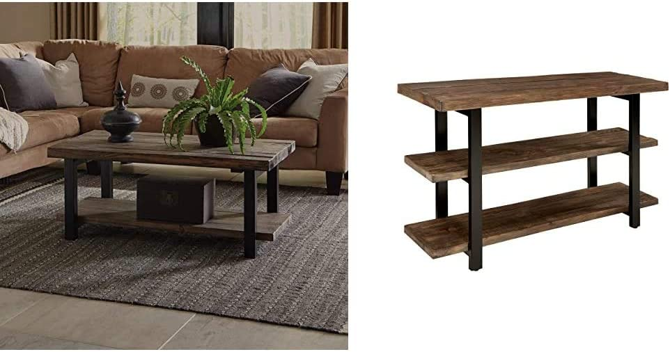 """Alaterre Sonoma Rustic Natural Coffee Table, Brown, 42"""" &"""" L Reclaimed Wood Media/Console Table with 2 Shelves, Natural"""