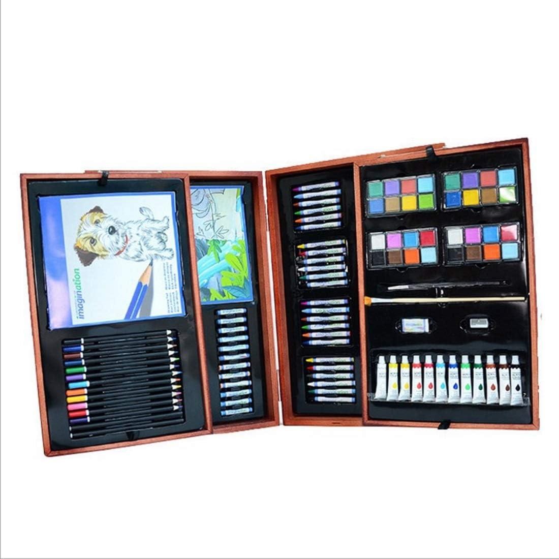 Makecny アートブラシ177個のセット木製のボックスの色のリードセット安全な環境保護子供の絵画セット (色 : Wood)
