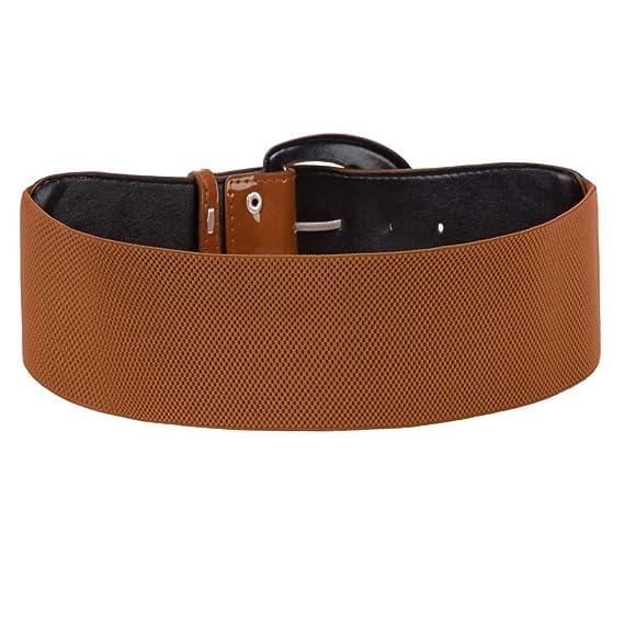 Cinturón moda para mujer PU cuero sólido negro rojo ancho lujo mujer  cintura elástica cinturilla pretina para mujer vestido  Amazon.es  Ropa y  accesorios fce9f4613db0