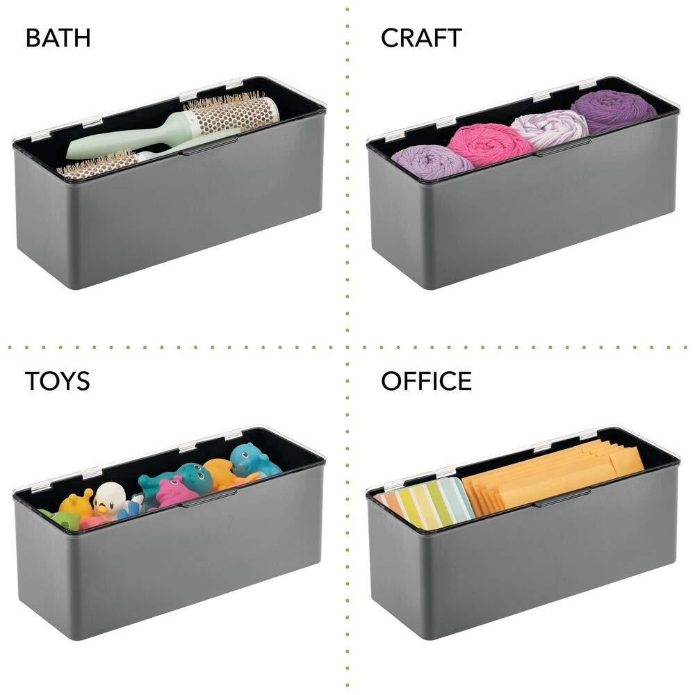 mDesign Caj/ón de pl/ástico sin BPA ideal para organizar la cocina Caja con tapa de dise/ño apilable Cajas de ordenaci/ón multiusos blanco y transparente la habitaci/ón infantil o el ba/ño