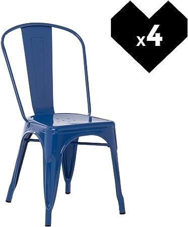 SKLUM Pack 4 Sillas LIX Azul Lapislázuli Estilo Industrial Acabado ...