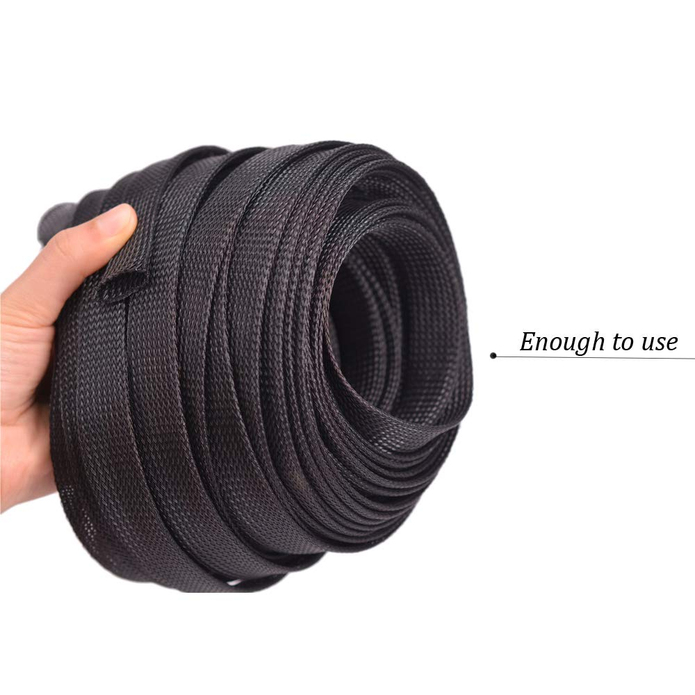 Wang-Data PET Black Braided Cable Sleeve 3//8 inch X 100ft 3//8 X 100