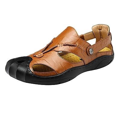 Homyl Herren Leder Sandalen Wanderschuhe Sport Outdoor Schuhe Leichtgewicht Sandalen - Braun, 41