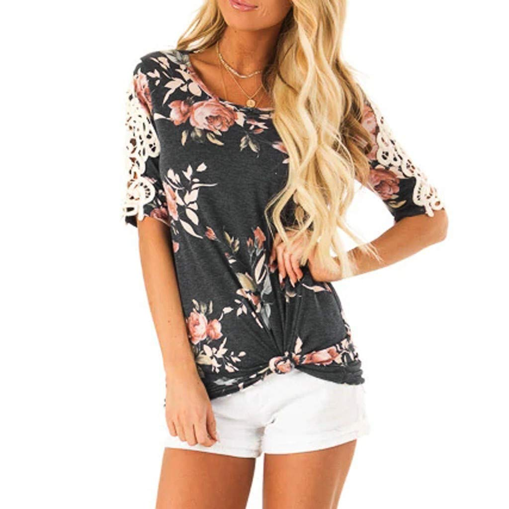 Womens Floral V Neck Loose Tops Ladies Summer Holiday Blouse T Shirts Size 12-20