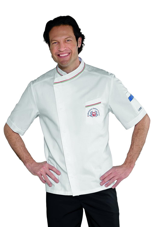 F.I.C. Isacco Giacca cuoco Bilbao Bianco+Italy Bianco+Italy Manica Lunga 3XL 65/% Poliestere 35/% Cotone