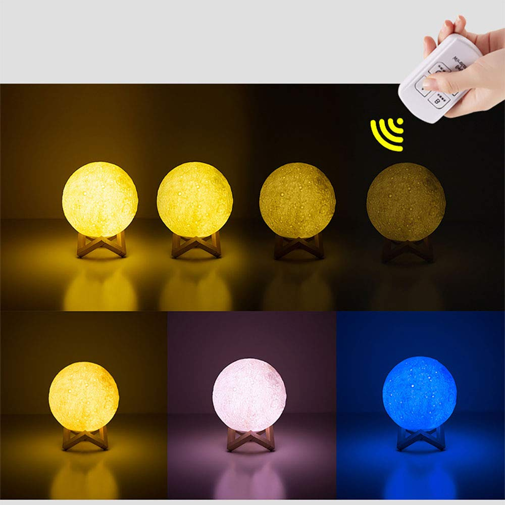 GYFY Creative 3D Moonlight USB Charging Remote Control Colorful Bluetooth Audio Light Bedroom Living Room Couple Gift Night lamp (White Light/Yellow Light/Warm White),XXL