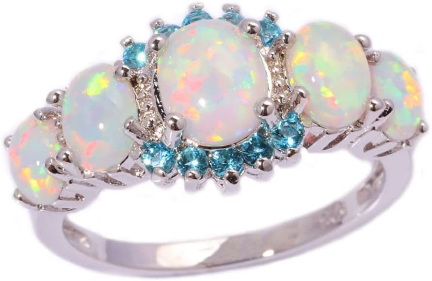 T/&T ring White Fire Opal Aquamarine Fashion Jewelry Ring For Women Engagement Wedding Bridal Rings